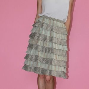 DAVID HAYES Vtg Silk Ruffled Tier Pencil Skirt